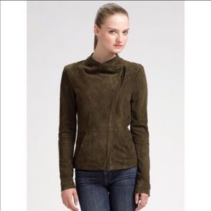 Vince Side Zip Suede Moto Jacket